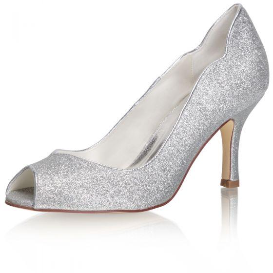Błyszczące Srebrny Cekinami Buty Ślubne 2021 8 cm Ślub Szpilki Peep Toe Wysokie Obcasy