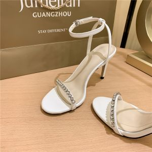 Modest / Simple Sexy Ivory Evening Party Womens Sandals 2020 Ankle Strap Rhinestone 8 cm Stiletto Heels Open / Peep Toe Sandals