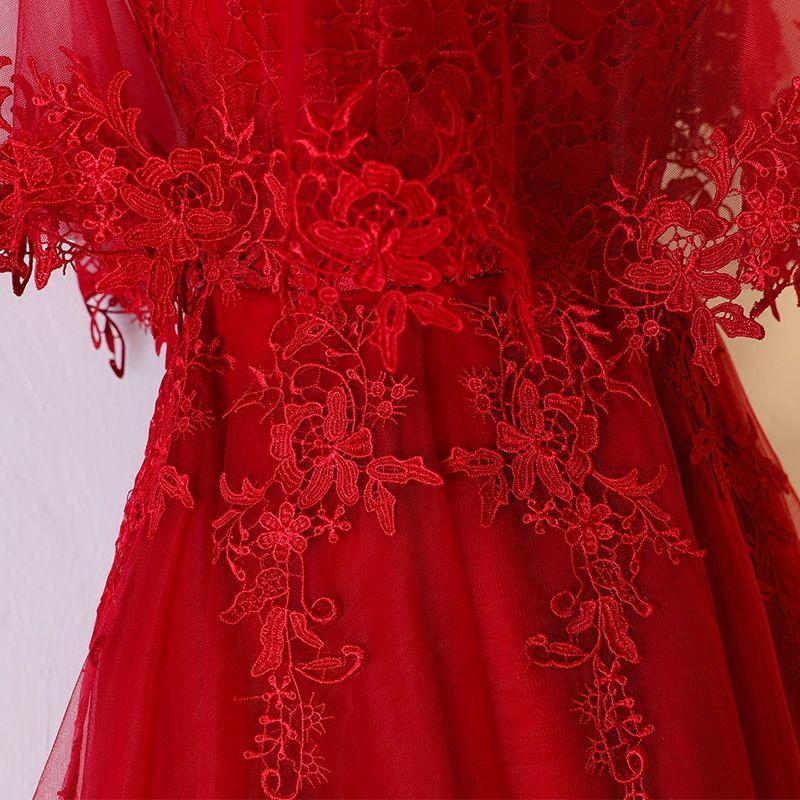 Chic / Belle Rouge Robe De Ceremonie 2017 En Dentelle Fleur Amoureux 1/2 Manches Dos Nu Asymétrique Princesse Robe De Soirée
