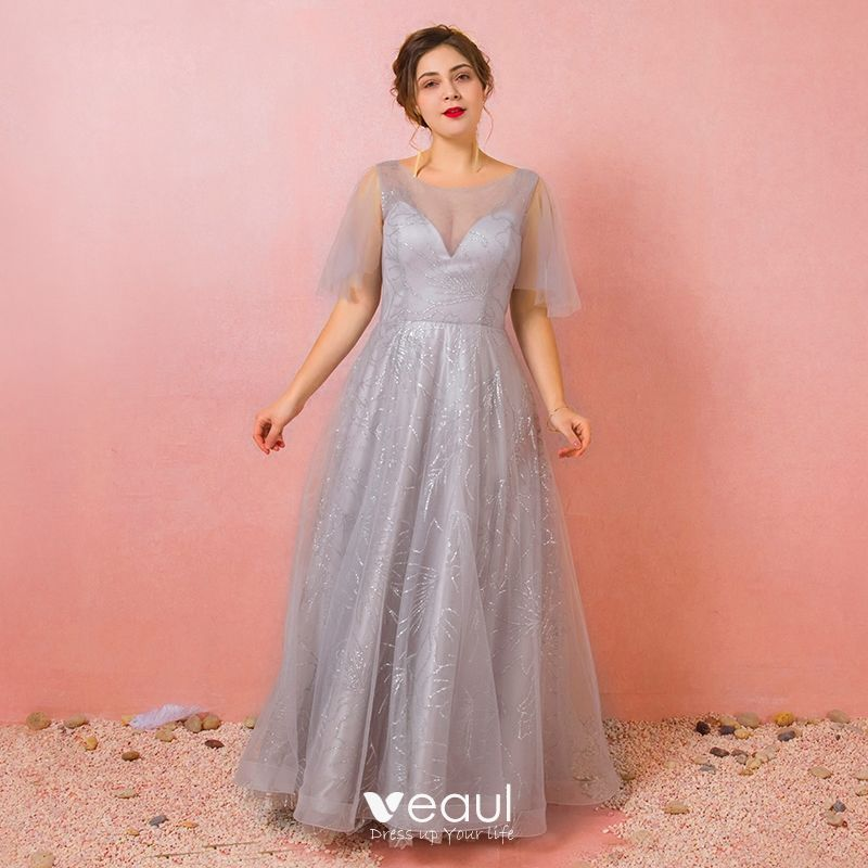 Bling Bling Silver Plus Size Prom Dresses 2018 A-Line / Princess U ...