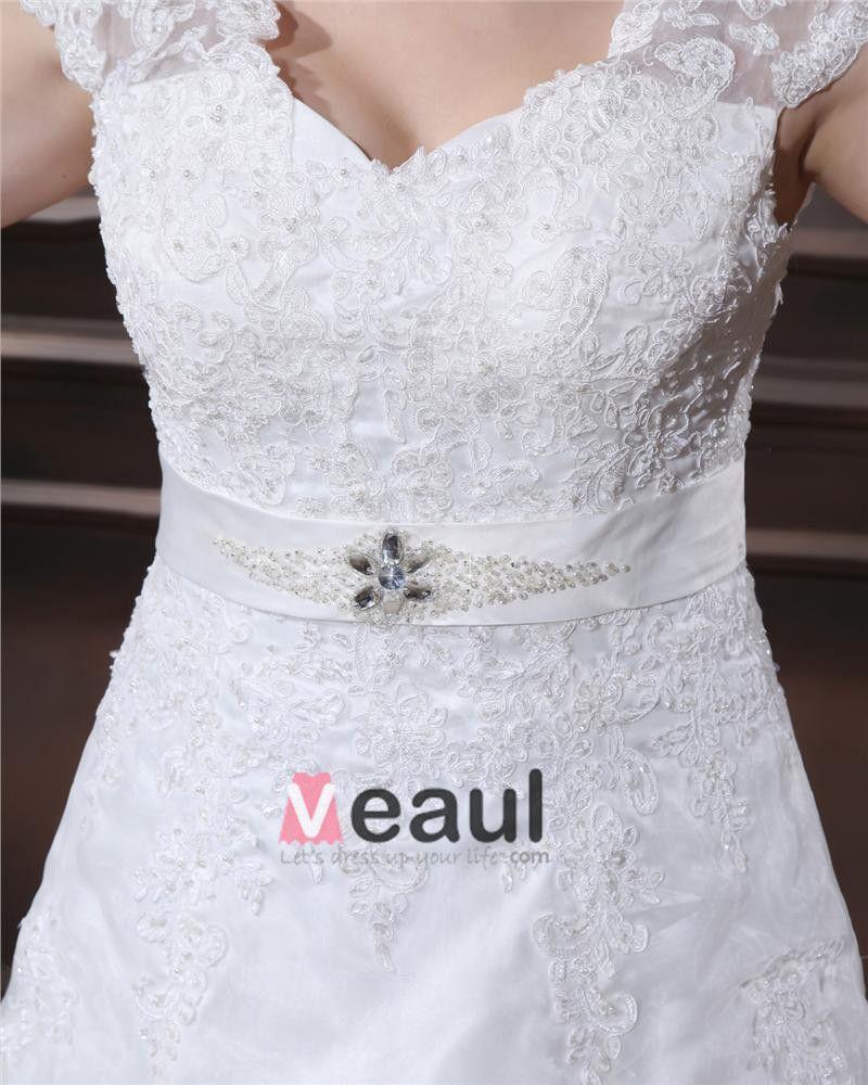 Yarn Applique Beading V Neck Floor Length Plus Size Bridal Gown Wedding Dress