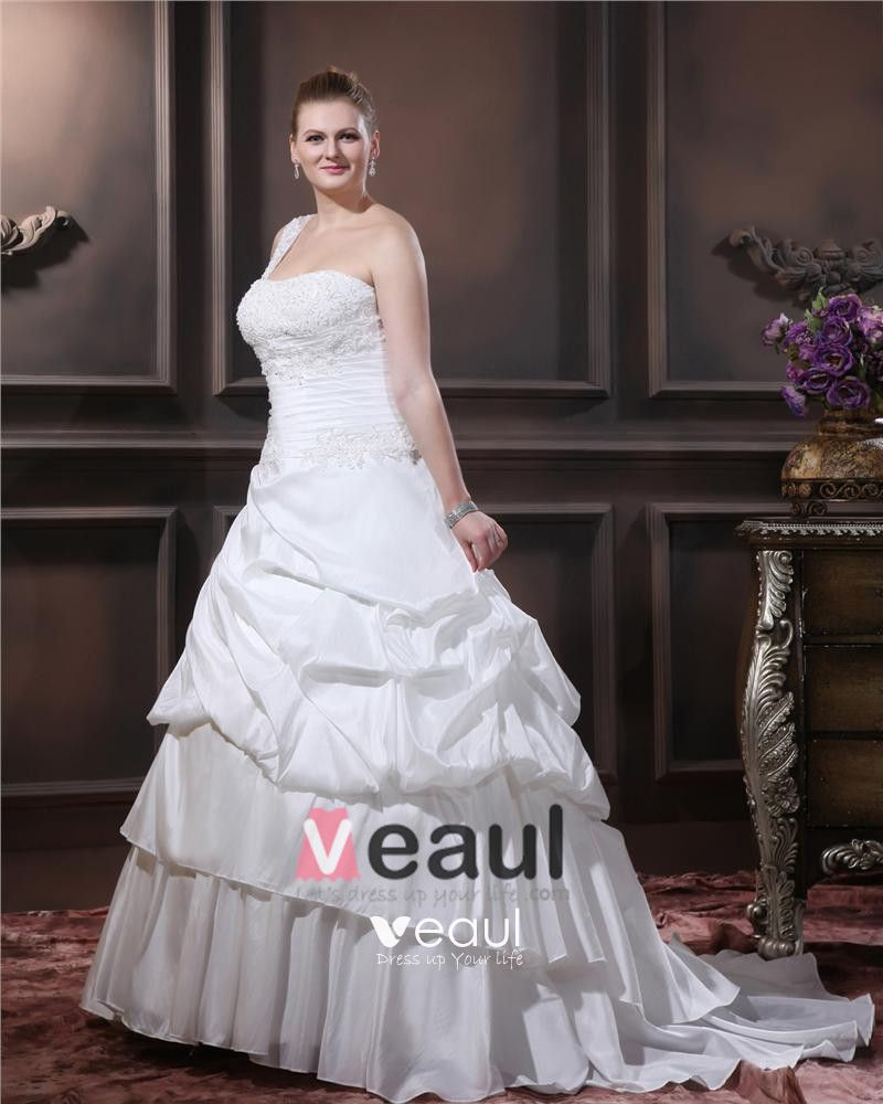 Layered Ruffle One Shoulder Court Plus Size Bridal Gown Wedding Dress