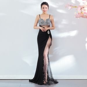 Sexy Black Evening Dresses  2018 Trumpet / Mermaid Sequins Spaghetti Straps Backless Sleeveless Floor-Length / Long Formal Dresses