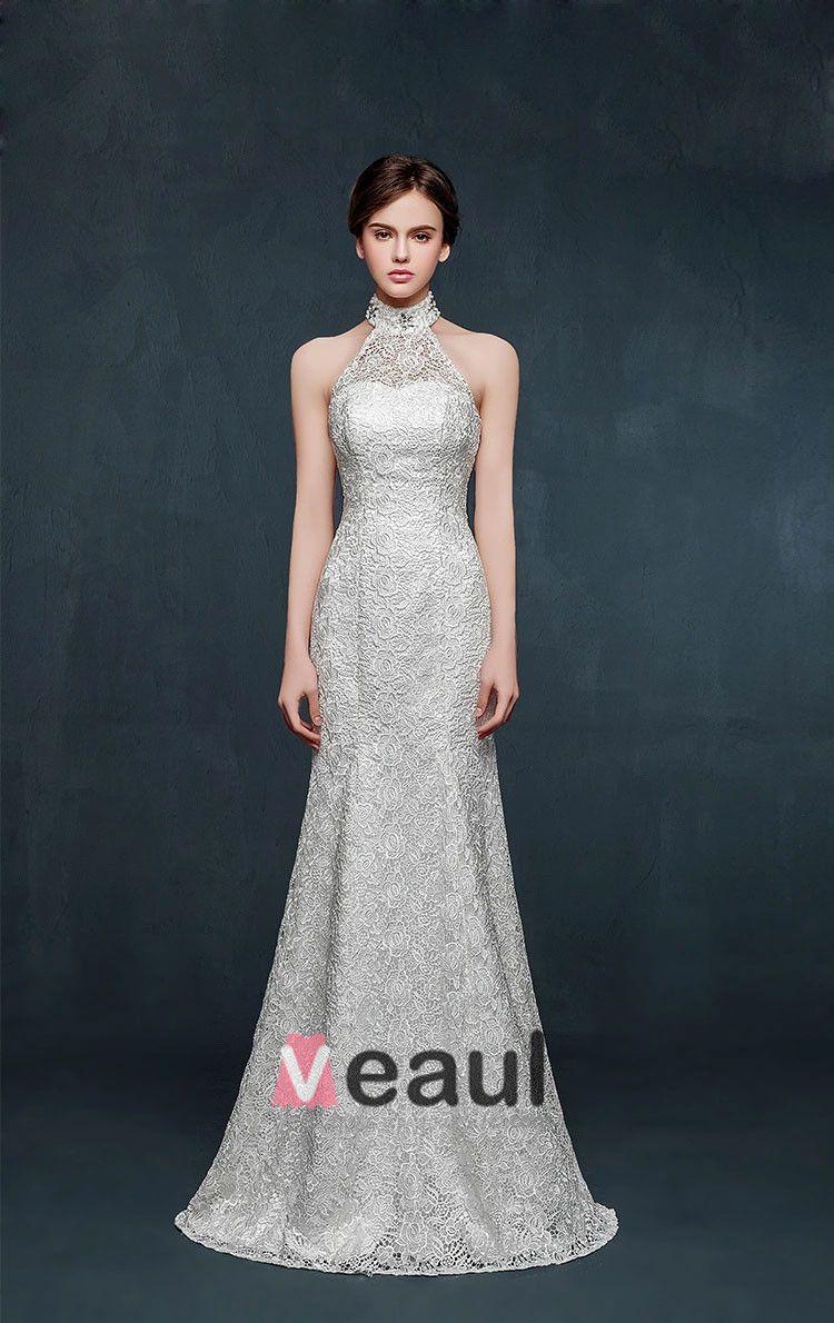 2015 White Halter Mermaid Wedding Dress