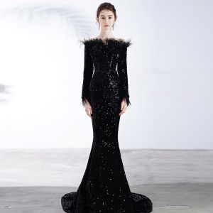 Sparkly Sorte Pailletter Selskabskjoler 2020 Havfrue Off-The-Shoulder Langærmet Feather Feje tog Halterneck Kjoler