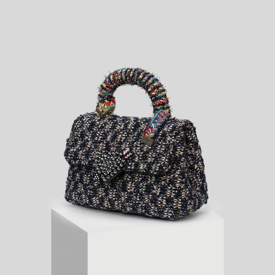 Mooie / Prachtige Donkerblauwe Rhinestone Kralen Geruit  Vlecht Handtassen 2019