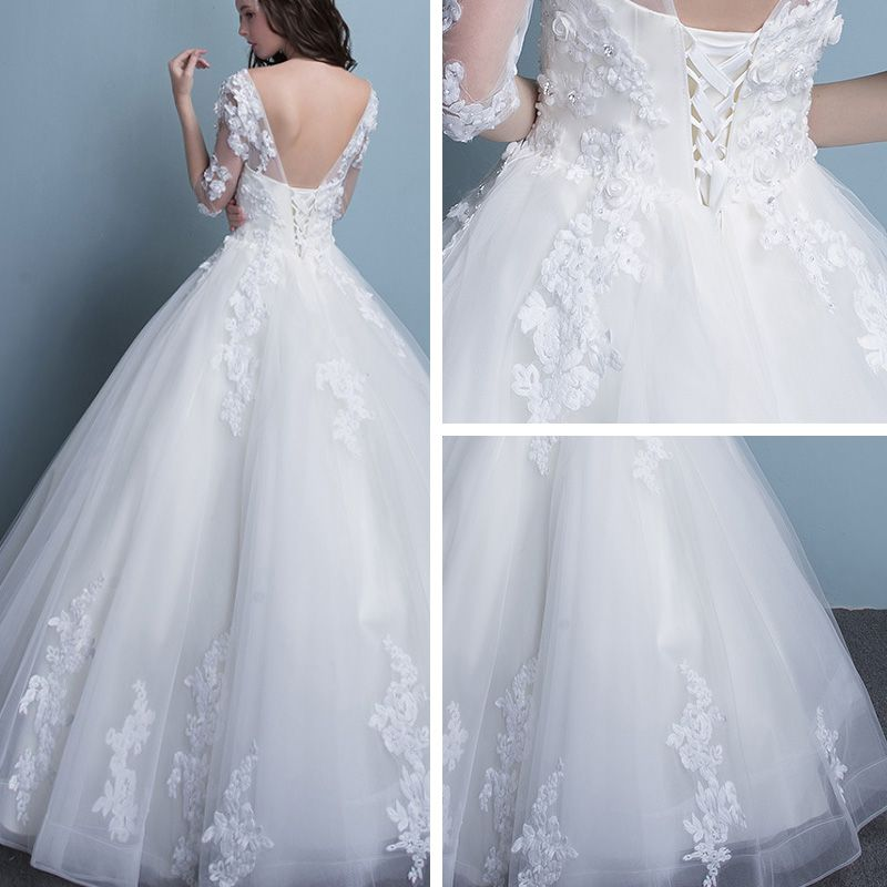 Affordable Church Wedding Dresses 2017 Lace Appliques Rhinestone Pearl Cascading Ruffles Backless V-Neck 1/2 Sleeves Floor-Length / Long White Ball Gown