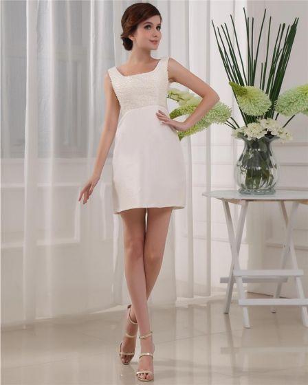 Square Neckline Thigh Length Sleeveless Beading Satin Woman Little Black Cocktail Dress