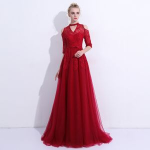 Chic / Beautiful Burgundy Evening Dresses  2018 Tulle High Neck A-Line / Princess Backless Appliques Beading Embroidered Evening Party Formal Dresses