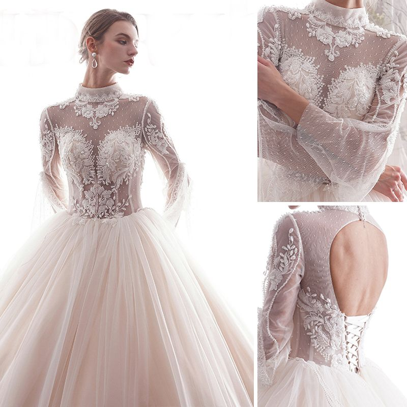 Chic / Beautiful Champagne 2019 Wedding Dresses A-Line / Princess High Neck Lace Flower Beading Crystal 3/4 Sleeve Backless Floor-Length / Long