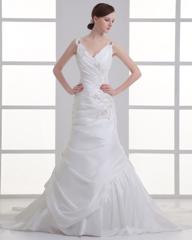 Taffeta Applique Beading V Neck Court Train Mermaid Wedding Dress