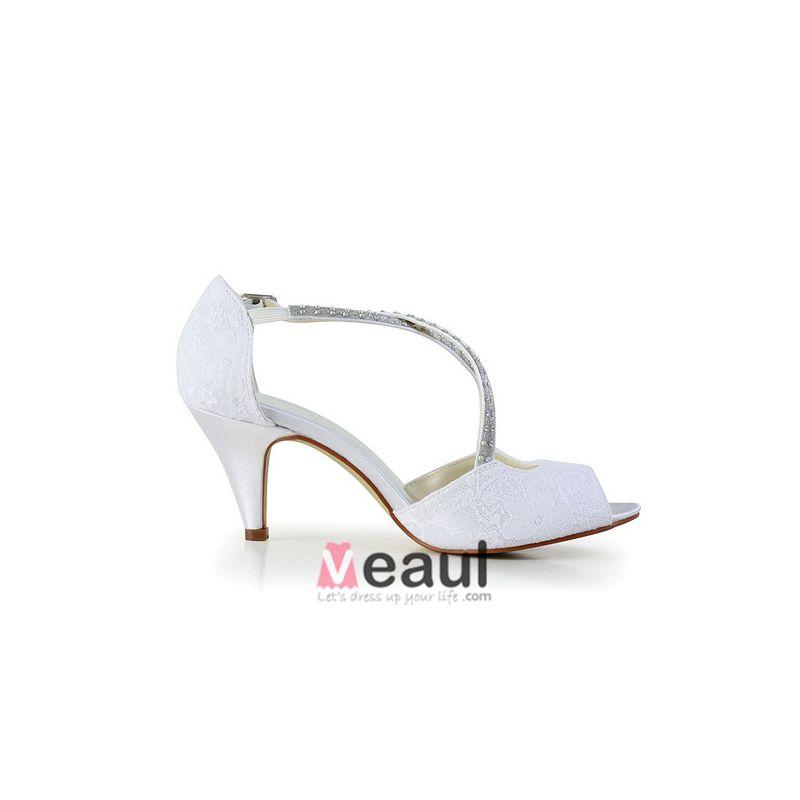 Beautiful Open Toe Strappy Sandals White Satin Bridal