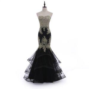 Uroczy Czarne Sukienki Wieczorowe 2018 Syrena / Rozkloszowane Bez Ramiączek Bez Pleców Z Koronki Kwiat Rhinestone Bez Rękawów Długie Sukienki Wizytowe