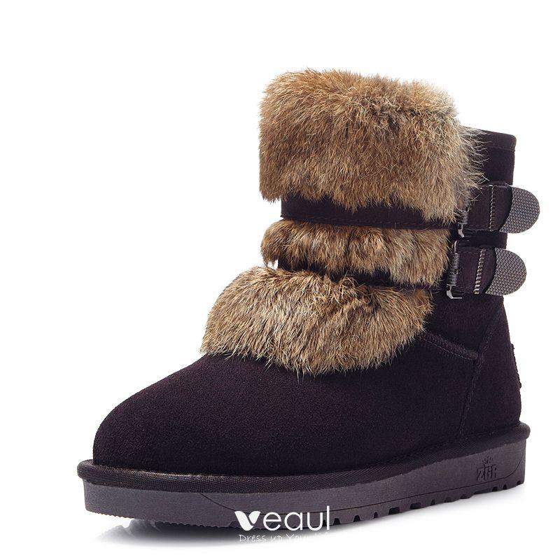 Mode Schneestiefel 2017 Braun Leder Ankle Boots Wildleder Schnüren Freizeit Winter Flache Stiefel Damen