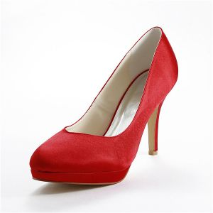 Simple Red Bridal Shoes Satin Stilettos Pumps