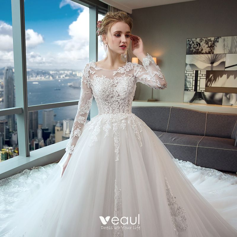 Elegant Lace Sleeve Short Wedding Dresses 2016 Scoop Neck: Elegant Ivory Wedding Dresses 2017 A-Line / Princess Scoop