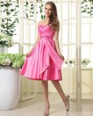 Taffeta Ruffle Sweetheart Tea Length Bridesmaid Dresses