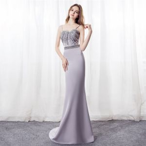 Sexy Grey Evening Dresses  2018 Trumpet / Mermaid Spaghetti Straps Sleeveless Rhinestone Beading Crystal Bow Sash Sweep Train Backless Formal Dresses