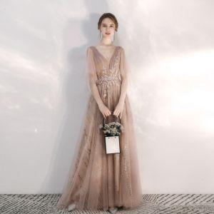 Snygga / Fina Champagne Aftonklänningar 2020 Prinsessa V-Hals Glittriga / Glitter Beading Spets Blomma Rhinestone Paljetter 1/2 ärm Halterneck Långa Formella Klänningar