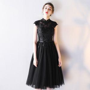 Piękne Czarne Homecoming Sukienki Na Studniówke 2019 Princessa Wysokiej Szyi Z Koronki Kwiat Kokarda Bez Rękawów Bez Pleców Krótkie Sukienki Wizytowe