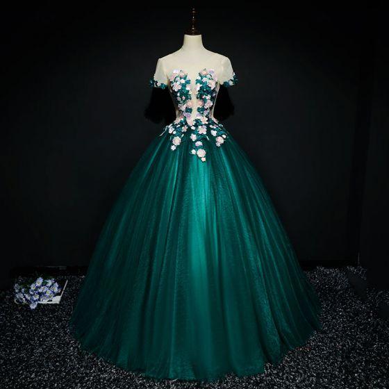 Hermoso Verde Oscuro Vestidos de gala 2017 Ball Gown Con Encaje Flor Flores Artificiales Rebordear Scoop Escote Sin Espalda Manga Corta Largos Vestidos Formales