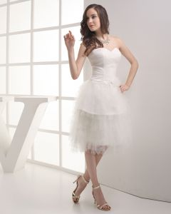Fashion Gauze Satin Ruffle Beading Sweetheart Knee-Length Mini Wedding Dress