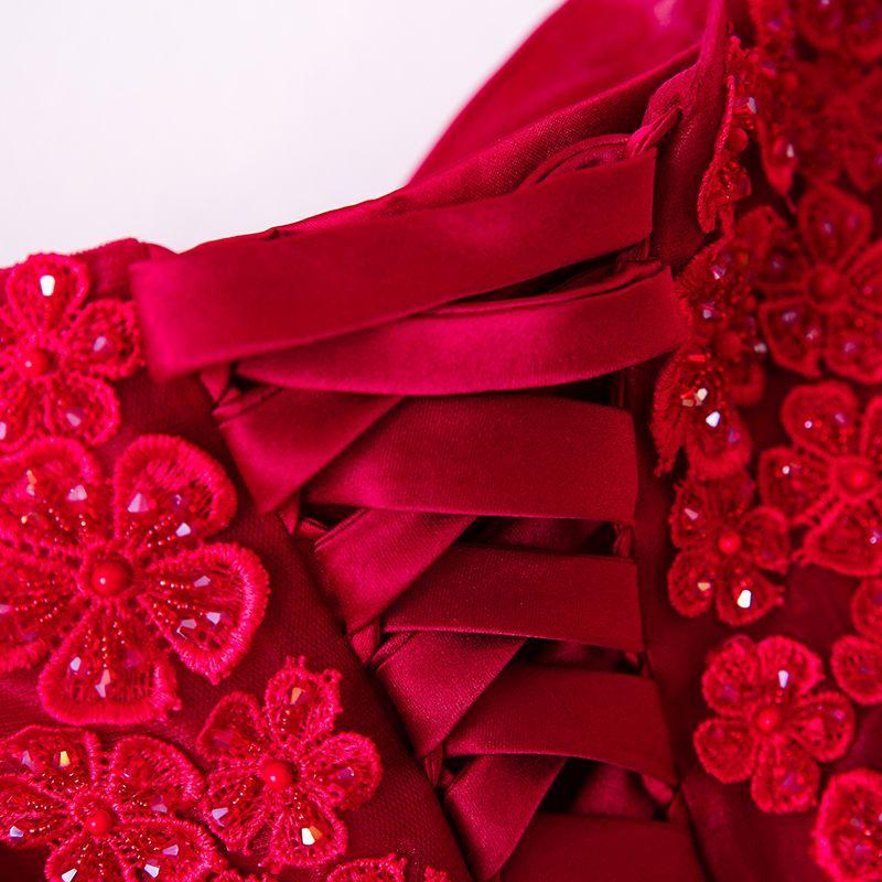 Chic / Belle Rouge Robe De Soirée 2017 Princesse Cristal En Dentelle Fleur Perlage Bretelles Spaghetti Bustier Dos Nu Manches Courtes Longueur Cheville Soirée