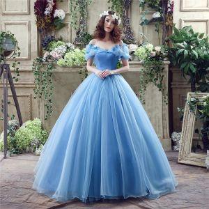 Aschenputtel Blau Ballkleider 2017 Off Shoulder Kurze Ärmel Perlenstickerei Strass Schmetterling Sweep / Pinsel Zug Glanz Organza Ballkleid Festliche Kleider