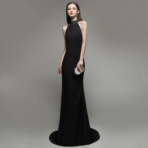 Seksowne Jednolity kolor Czarne Sukienki Wieczorowe 2020 Syrena / Rozkloszowane Posiadacz Frezowanie Bez Rękawów Bez Pleców Trenem Sweep Sukienki Wizytowe