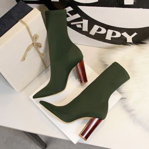Modest / Simple Dark Green Street Wear Womens Boots 2020 9 cm Thick Heels Pointed Toe Boots