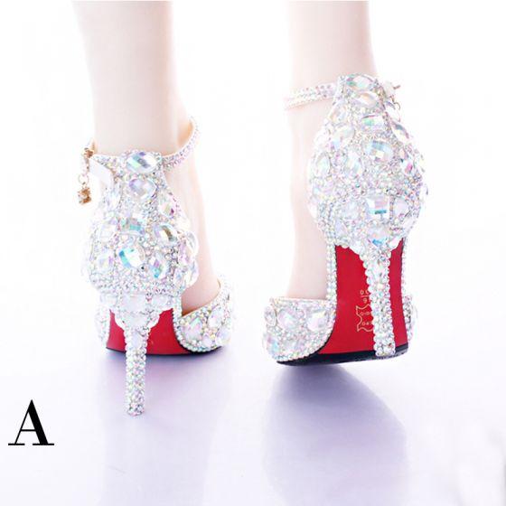 Amazing / Unique White Wedding Shoes 2017 PU Beading Crystal Rhinestone Womens Shoes