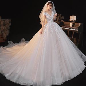 Romantic Champagne Bridal Wedding Dresses 2020 Ball Gown See-through Deep V-Neck Short Sleeve Backless Appliques Lace Beading Star Sequins Glitter Tulle Cathedral Train Ruffle