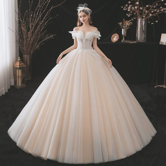 Charming Champagne Wedding Dresses 2021 Ball Gown Off-The-Shoulder Beading Lace Flower Sleeveless Backless Floor-Length / Long Wedding