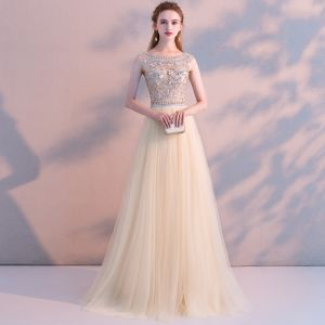 Modern / Fashion Champagne Evening Dresses  2018 A-Line / Princess Crystal Rhinestone Scoop Neck Backless Short Sleeve Floor-Length / Long Formal Dresses