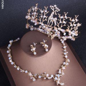 Unieke Goud Huwelijk Accessoires 2019 Metaal Kristal Parel Rhinestone Tiara Oorbellen Nek Ketting Bruidssieraden