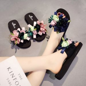 Chic / Beautiful Black Casual Summer Slipper & Flip flops 2018 Artificial Flowers Open / Peep Toe Womens Shoes