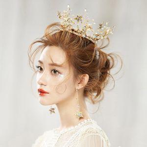 Mooie / Prachtige Goud Bruidssieraden 2020 Legering Kralen Parel Ster Kwast Oorbellen Huwelijk Accessoires