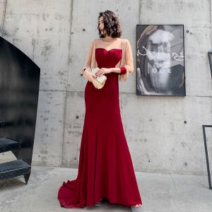 Fashion Burgundy Evening Dresses  2020 Trumpet / Mermaid See-through Scoop Neck Puffy 3/4 Sleeve Appliques Sequins Sweep Train Ruffle Formal Dresses