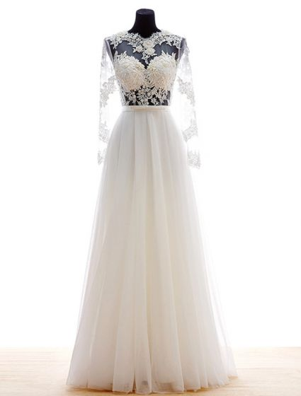 2015 Flower Serie A-line Long Sleeves Pierced Appliques Lace Beading Pearl Sash Organza Wedding Dress