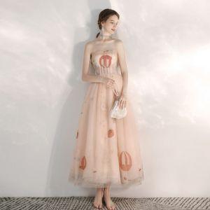Charmant Perle Rose Dessin animé Robe De Bal 2020 Princesse Amoureux Sans Manches Appliques En Dentelle Perlage Longueur Cheville Volants Dos Nu Robe De Ceremonie