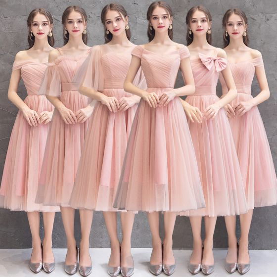Affordable Pearl Pink Bridesmaid Dresses 2019 A-Line / Princess Tea-length Ruffle Wedding Party Dresses