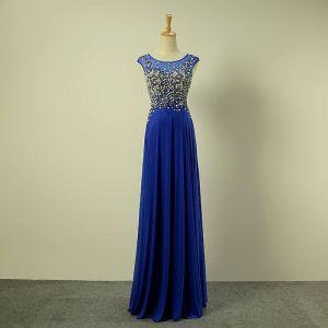 Chic / Belle Bleu Roi Robe De Soirée 2017 Princesse Encolure Dégagée Sans Manches Perlage Perle Volants Chiffon Longue Robe De Ceremonie