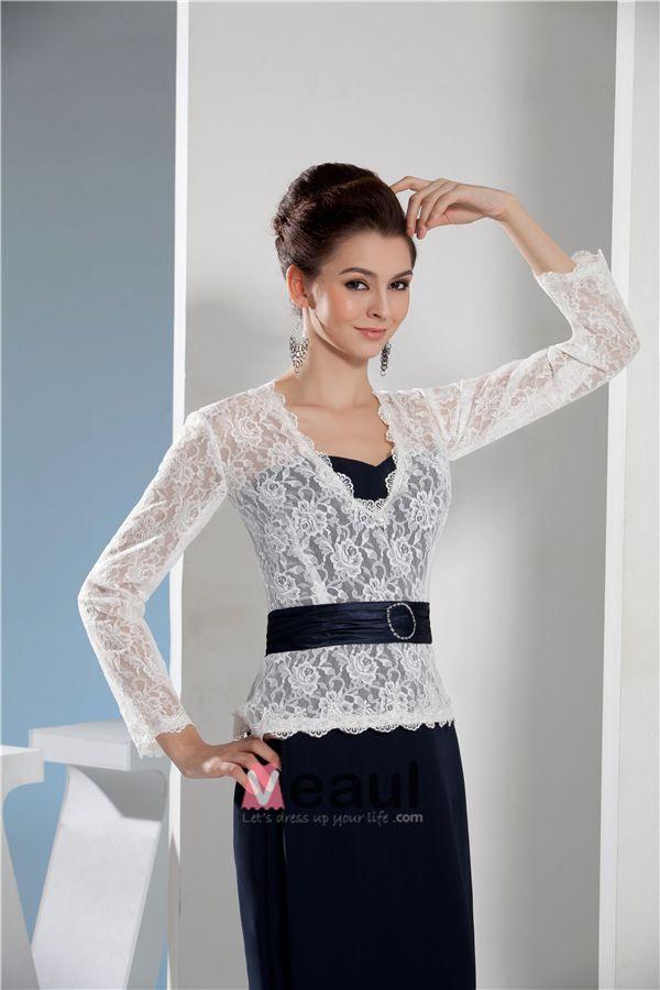 2015 Elegante Spitze Lange Ärmel V-ausschnitt Abendkleid Mit Schärpe