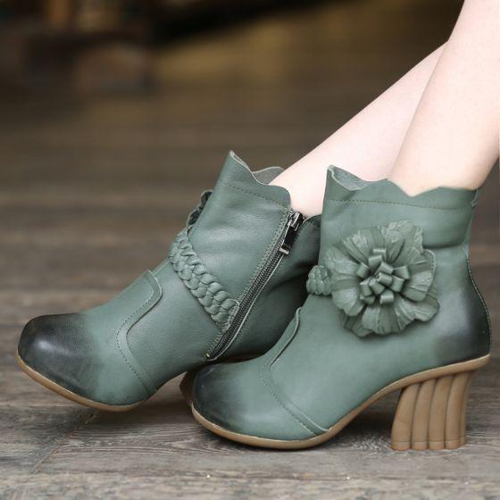 Hermoso 2017 8 cm / 3 inch Verde Azul Real Casual Exterior / Jardín Cuero Primavera Apliques High Heels Talones Gruesos Botas Zapatos De Mujer