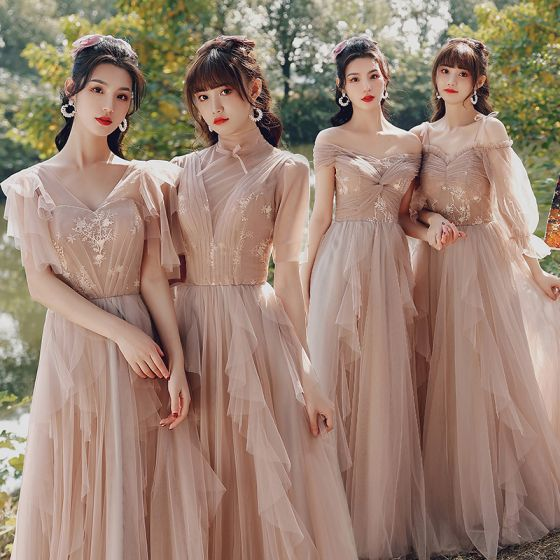 Modest / Simple Blushing Pink Wedding Party Dresses 2021 A-Line / Princess V-Neck Short Sleeve Backless Floor-Length / Long Bridesmaid Dresses