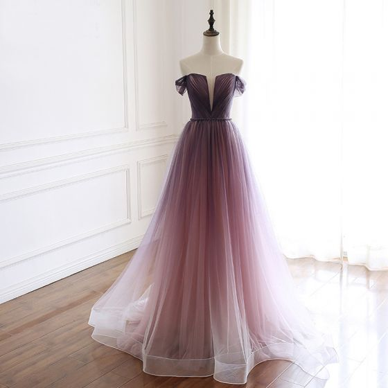 Elegant Grape Gradient-Color Prom Dresses 2019 A-Line / Princess Off-The-Shoulder See-through Deep V-Neck Short Sleeve Beading Sash Sweep Train Ruffle Backless Formal Dresses