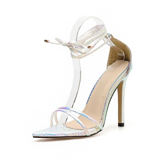 Sexy Silver Evening Party Womens Sandals 2020 Ankle Strap 11 cm Stiletto Heels Open / Peep Toe Sandals