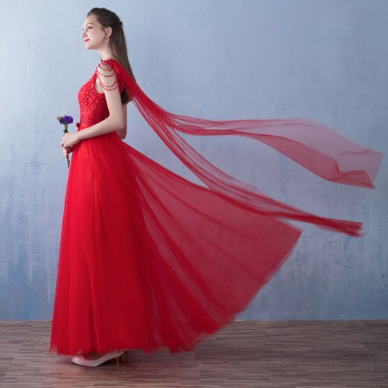 Affordable Red Prom Dresses 2019 A-Line / Princess Beading Bow V-Neck Sleeveless Backless Floor-Length / Long Formal Dresses