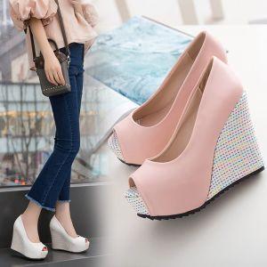 Hermoso 2017 8 cm / 3 inch Rosa Blanco Casual PU Verano High Heels Talones Gruesos Sandalias Sandalias De Mujer
