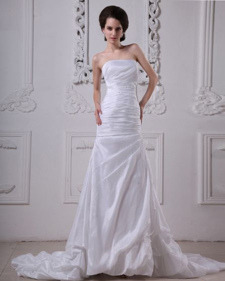 Taffeta Beading Ruffles Strapless Cathedral Length Sheath Wedding Dresses